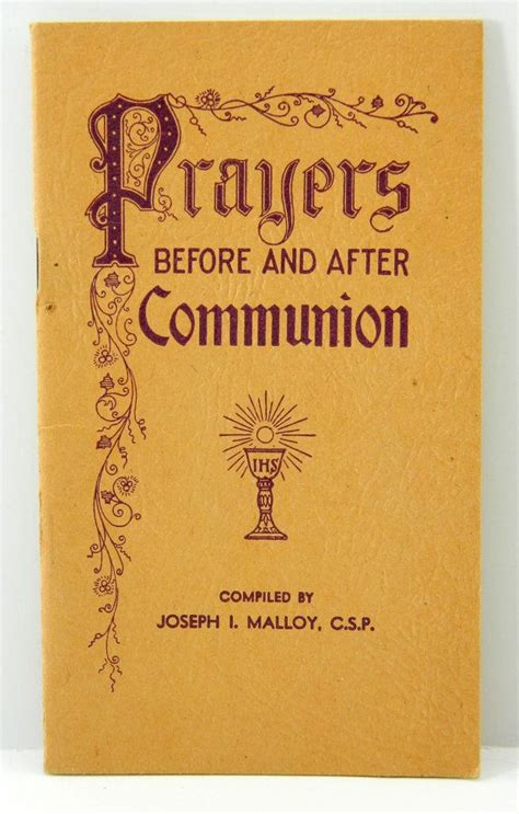 the before my communion books prayers before and after communion joseph malloy paulist