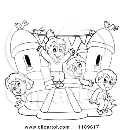 coloring page bounce house cartoon of outlined happy children playing on a bouncy