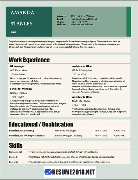Resume Format 2018 20 Free To Download Word Templates 2018 Word Resume Templates