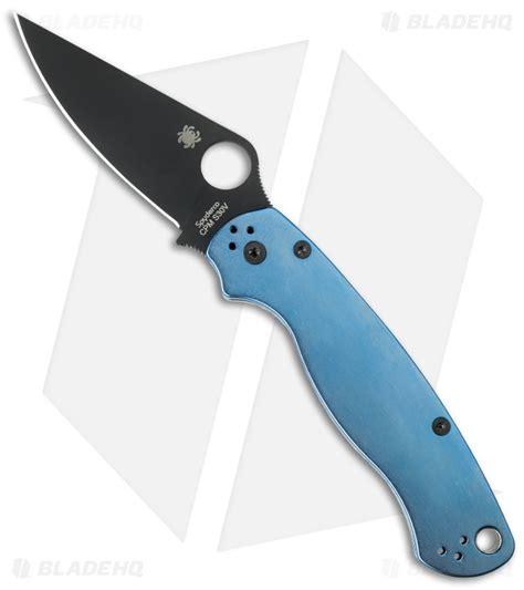 spyderco paramilitary 2 blade length spyderco paramilitary 2 knife flytanium blue anodized