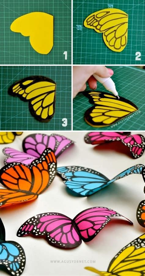Construction Paper Butterfly Craft - diy tutorial paper crafts diy paper butterflies