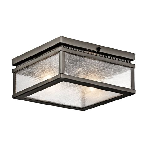 Exterior Ceiling Light Fixtures Shop Kichler Manningham 11 75 In W Olde Bronze Outdoor Flush Mount Light At Lowes