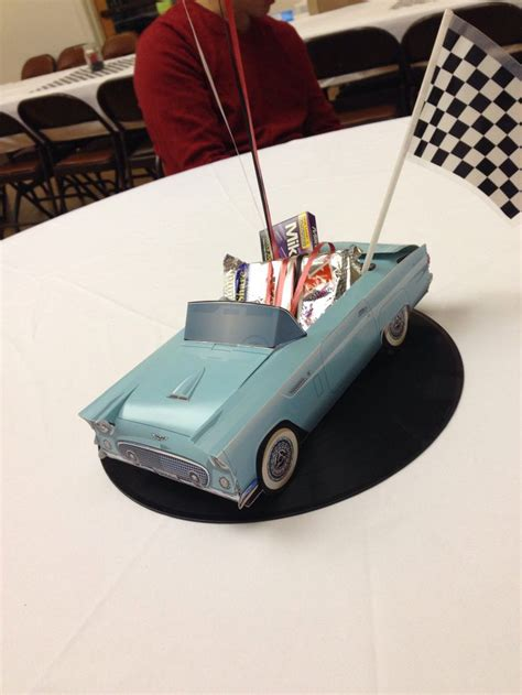 Centerpieces For My Dad S 60th Classic Car Birthday Party Classic Car Centerpieces