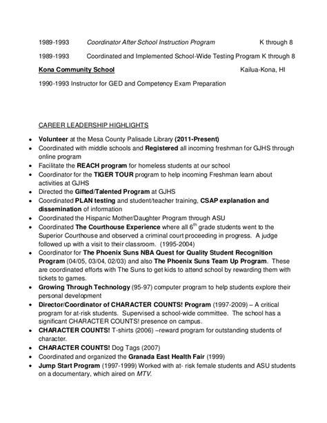 resume for after school program resume ideas