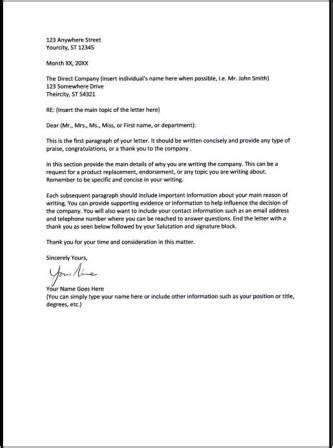 Business Letter Format Re Line Business Letter Format Re Line Letter Format 2017