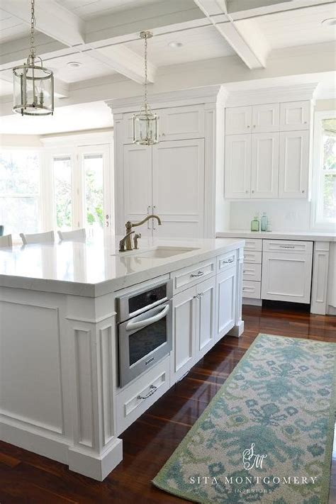 kitchen island with microwave drawer blue and green ikat kitchen runner transitional kitchen