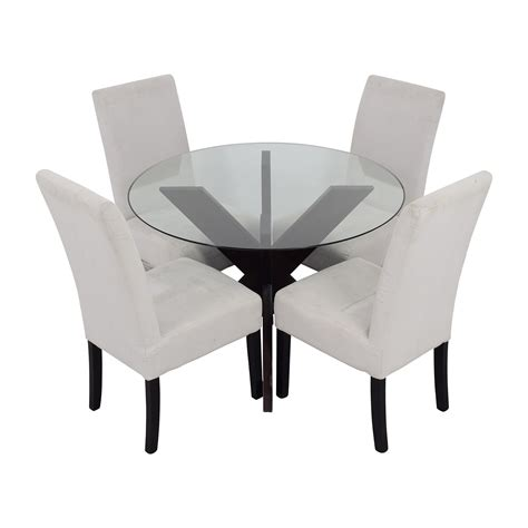 74 Off Crate And Barrel Crate Barrel Round Glass And Crate And Barrel Dining Table And Chairs