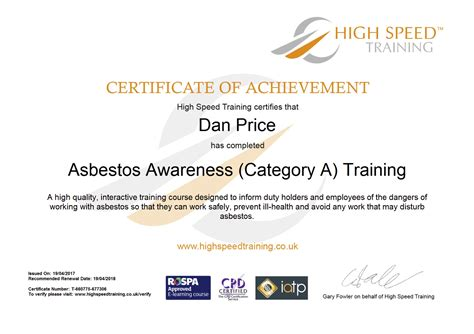 asbestos awareness certificate template cpd certificate of attendance template choice image