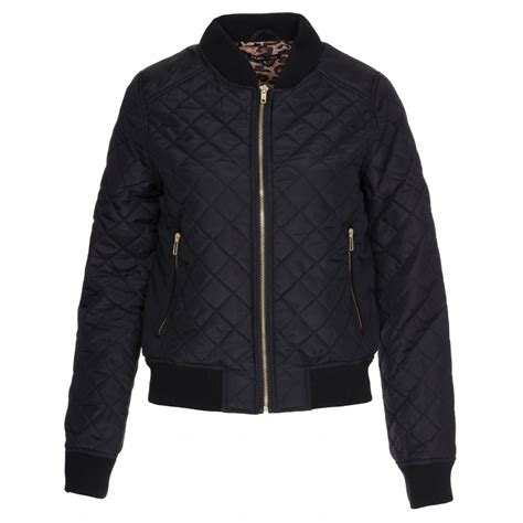 Black Womens Quilted Jacket by Womens Brave Soul Black Quilted Bomber Jacket