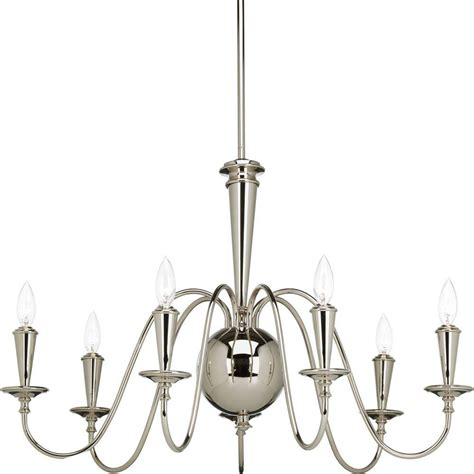 Polished Nickel Chandeliers Progress Lighting Identity Collection 7 Light Polished Nickel Chandelier P4714 104 The Home Depot