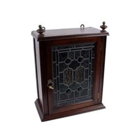 mahogany wall mount liquor cabinet with leaded stained