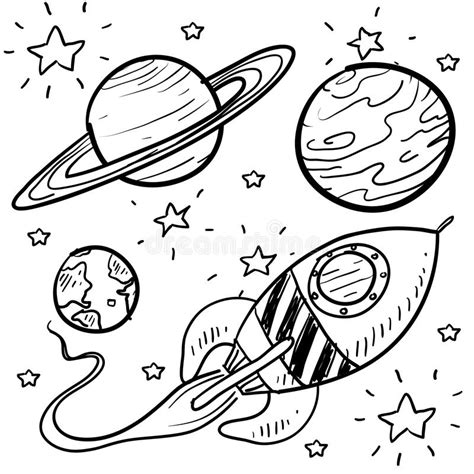doodlebug exploration space exploration or astronomy objects sketch stock vector