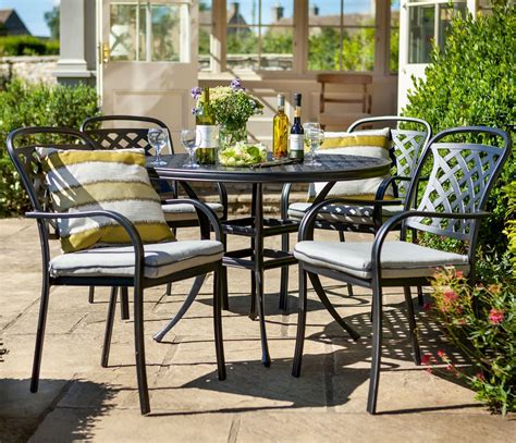 berkeley cast aluminium 4 seater round garden dining set