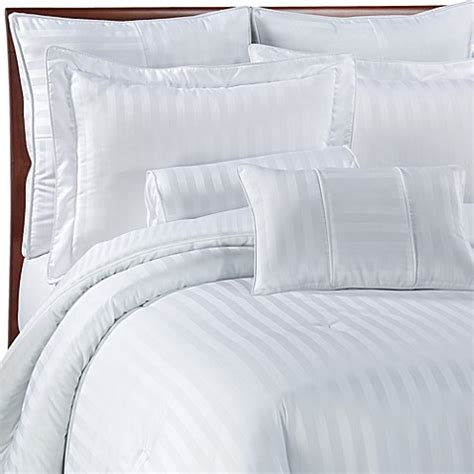 bed bath and beyond white comforter wamsutta 174 damask stripe comforter set in white bed bath