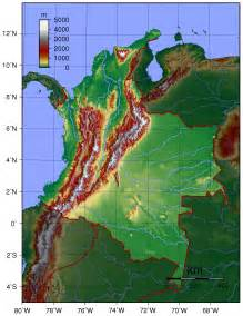 map columbia south america detailed topographical map of colombia colombia detailed