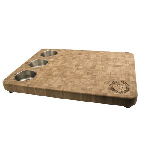 cutting boards monogrammed butcher block cutting board with 3 bowls