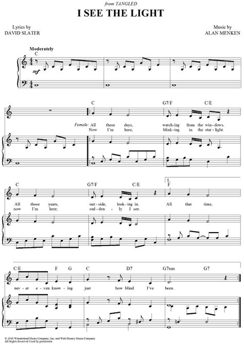 Lyrics To At Last I See The Light by I See The Light Sheet For Piano And More