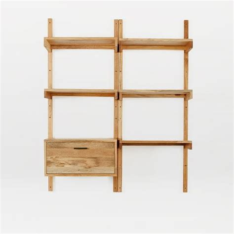 industrial storage wall shelving set west elm