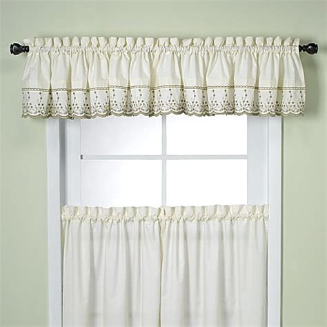 bed bath and beyond valances abby kitchen window tailored valance in sage bed bath