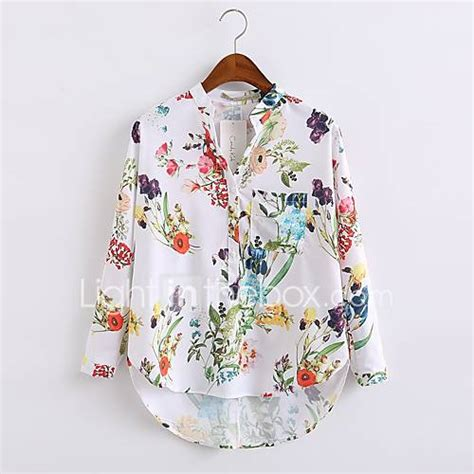 Casual Top 42332 s going out casual daily simple chic all seasons shirt floral crew neck