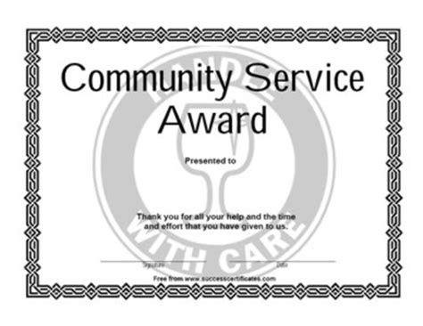 certificate to provide community services certificate