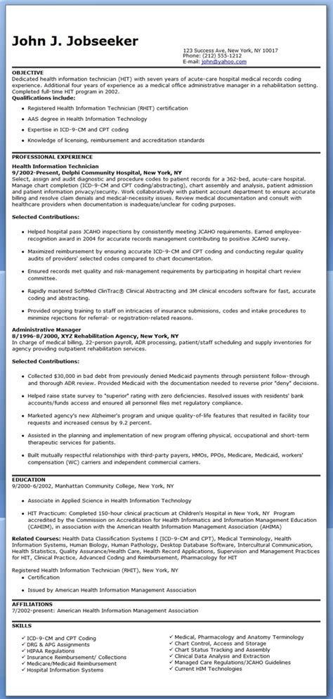 Sample Resumes For Entry Level Jobs by Health Information Technician Resume Sample Resume Downloads