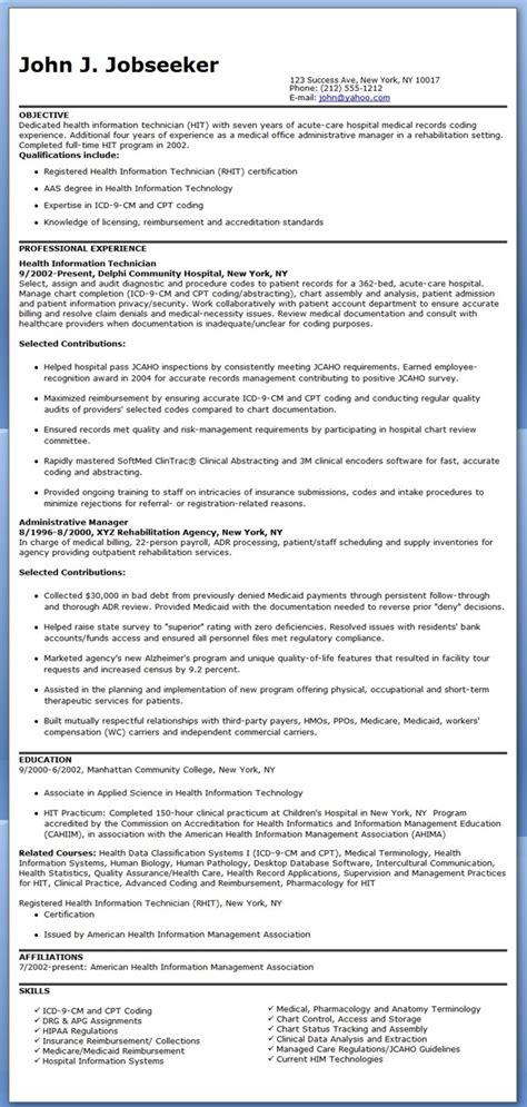 Health Information Technician Resume Sample   Resume Downloads
