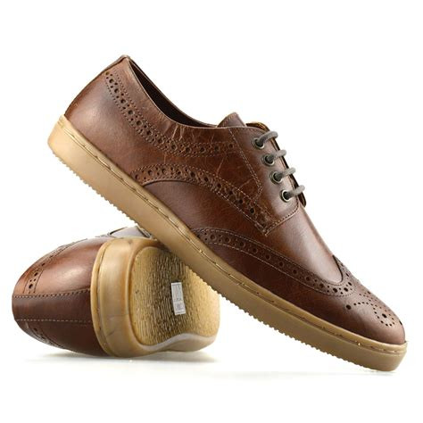 mens brogues leather casual smart work lace up