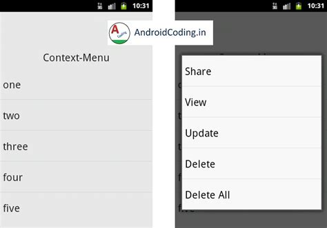 android layout context menu android tutorial on context menu