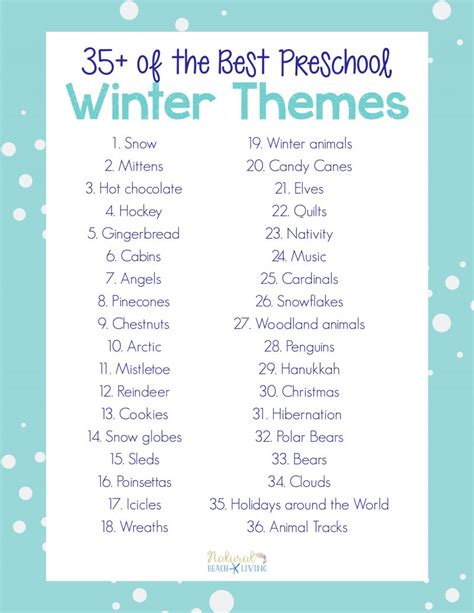 themes list pdf 35 best winter preschool themes and lesson plans