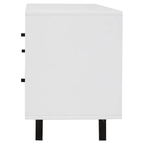 White Lacquer Media Cabinet by Manfred Modern White Lacquer Walnut Two Drawer Media