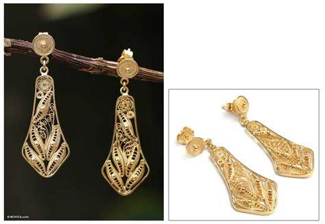 Handmade Gold Earrings Uk - unicef uk market handmade gold plated filigree earrings
