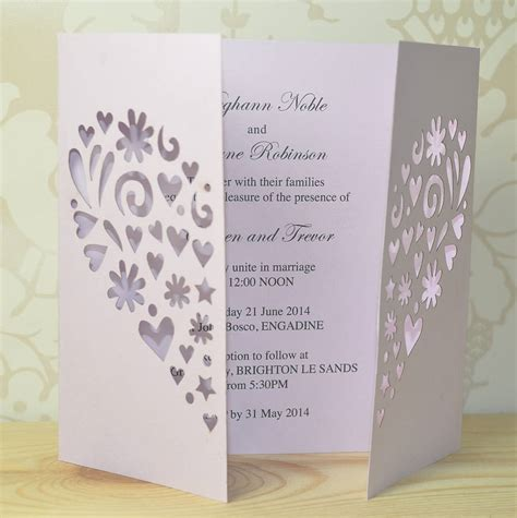 heart laser cut gatefold wedding invitation by sweet pea