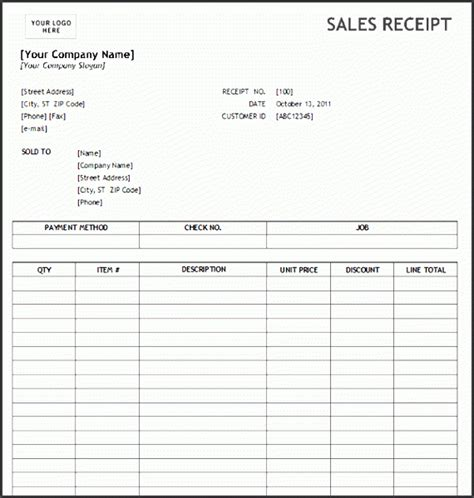 Ms Office Sales Receipt Template by 4 Sales Receipt Templates Sletemplatess