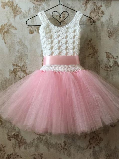 White Flower Crochet Dress pink and white flower tutu dress crochet tutu dress
