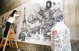 doodle di tembok a r t aidimaginaction