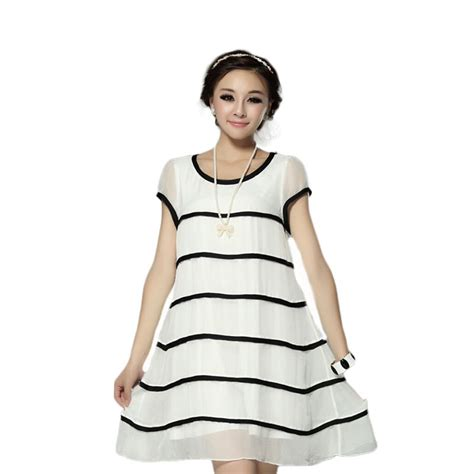 Big Stripe Casual Dress 26018 summer casual clothing tropical chiffon dress 2015 new fashion large size dress