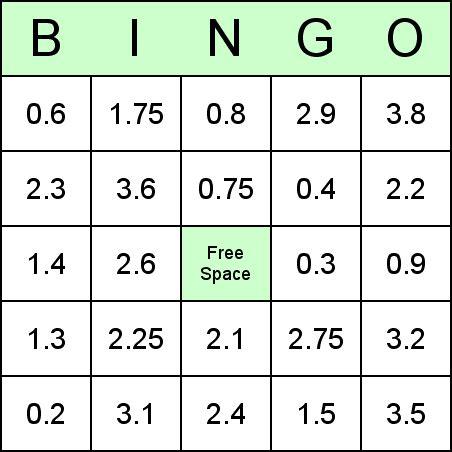 Printable Decimal Number Cards   math bingo games printable math games bingo printable