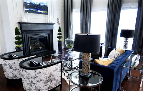 black and blue living room ideas black and white toile fabric contemporary living room atmosphere interior design