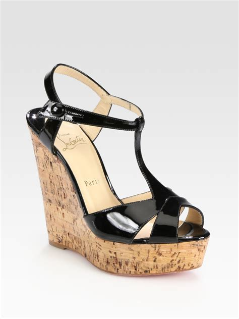 Loubotin Wedges Black 1 christian louboutin patent leather t cork wedge sandals in black lyst