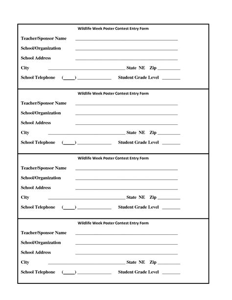 contest form template 6 best images of drawing entry forms printable blank