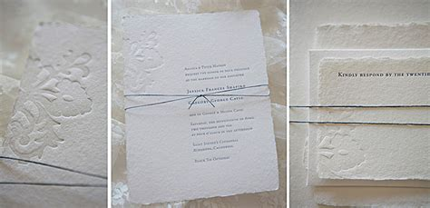 Handmade Paper Wedding Invitations - wedding invite on handmade paper lace blind deboss tiny