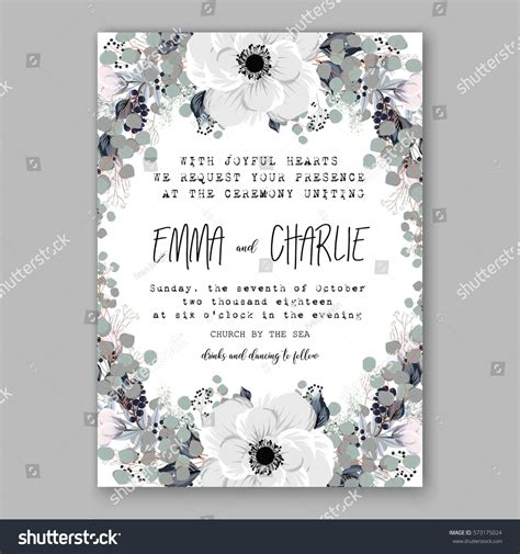 card wreath template anemone wedding invitation card template floral stock
