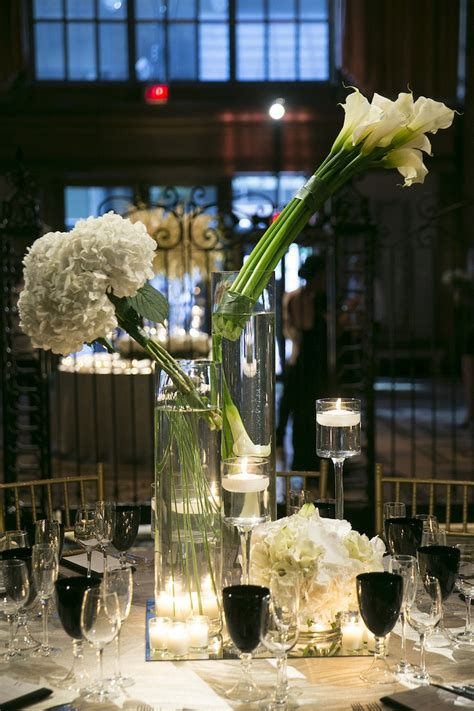 black and white table arrangements reception d 233 cor photos contemporary white flower