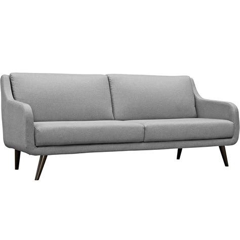 gray mid century sofa verve mid century modern upholstered sofa with wood frame