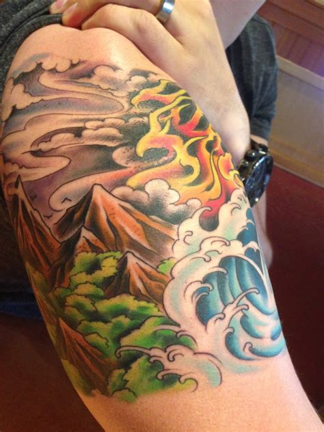 new element tattoo four elements representing the balance of all