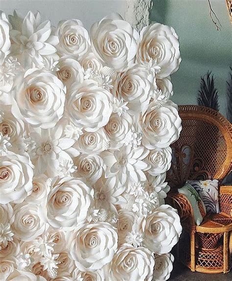 Ready Paper Flower Backdrop Dekorasi Bunga Kertas 7 marfil al por mayor flores de papel artificiales pared tel 243 n de fondo decoraciones de la boda