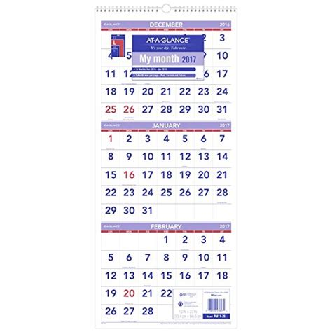 Month At A Glance Calendar At A Glance Wall Calendar 2017 Three Month View 14