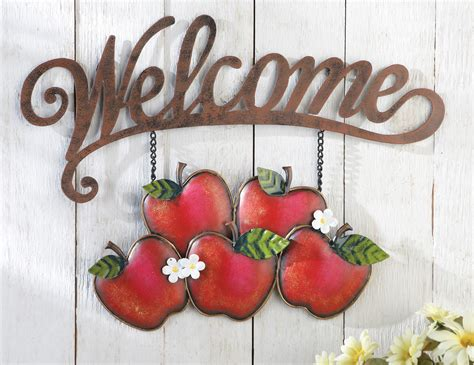 Apple Decor For Home Welcome Apple Wall Decor Hanging Sign Country Kitchen Porch Home Metal Accent