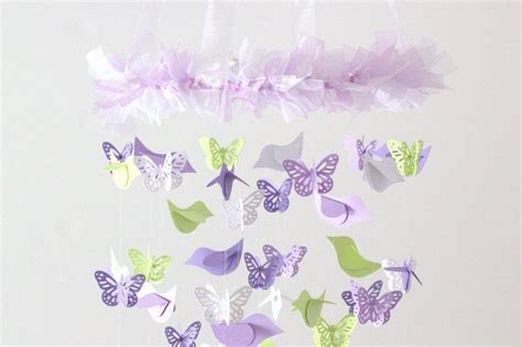Lavender Nursery Decor Lavender Green Nursery Decor Mobile Birds Butterflies On Luulla